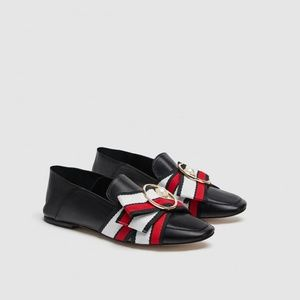 ZARA LEATHER LOAFERS WITH RIBBON DETAIL